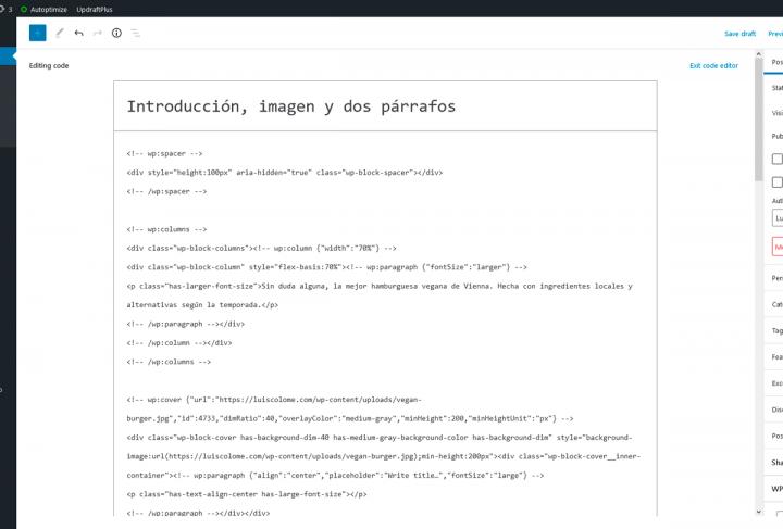 Capturar el HTML crudo para crear el patrón de Gutenberg