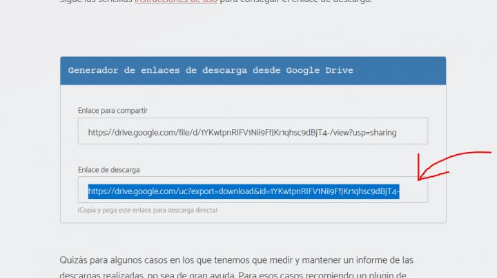 Crear enlace de descarga directa desde Google Drive