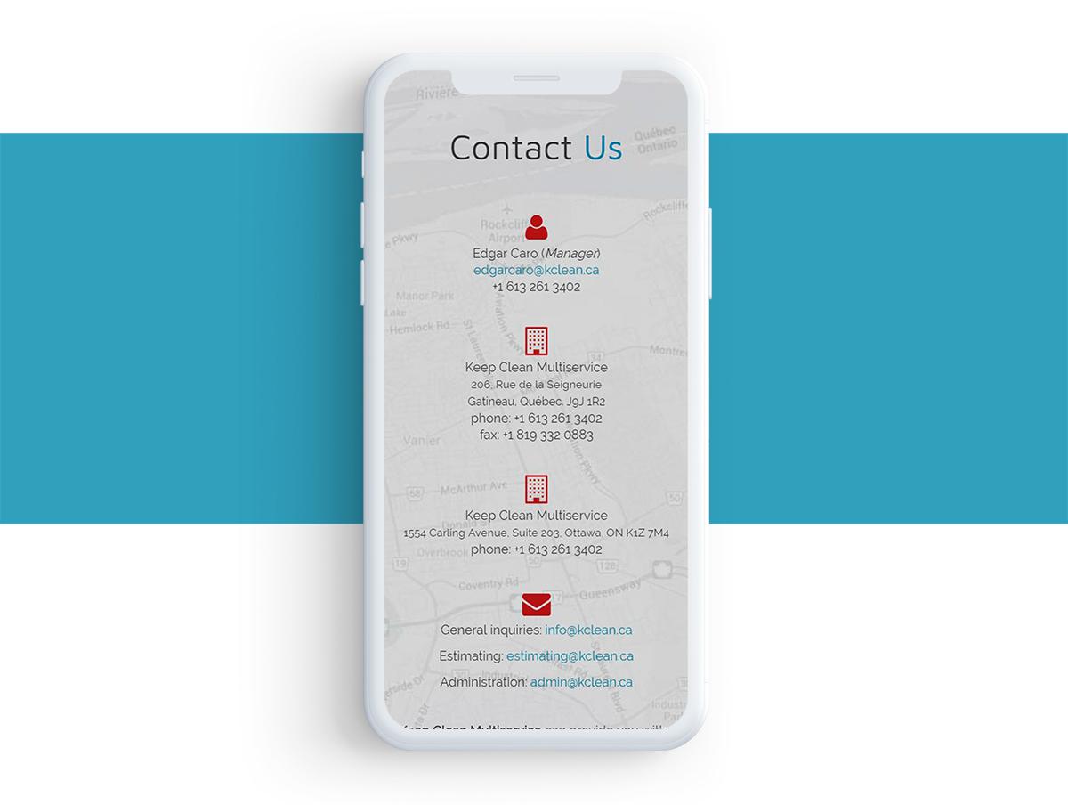 Portfolio Kclean.ca - Contacto en Smartphone